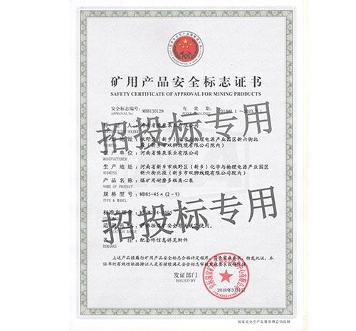 耐磨yabo亚博vip体育官网泵安全标志证书